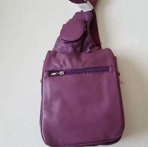 Buxton Purple Leather Crossbody Bag